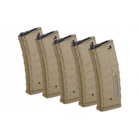ForceCore Armament - Set of 5 Hi-Cap 300 BB Magazines for M4/M16 Replicas - Tan