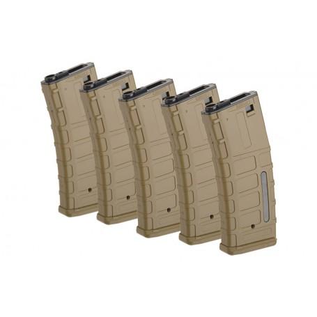 ForceCore Armament - Set of 5 Hi-Cap 300 BB Magazines for M4/M16 Replicas - Tan